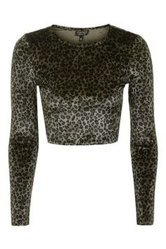 Leopard Velvet Crop Top