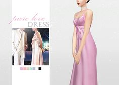 Pure Love Dress   • New mesh / EA mesh edit   • Category: dress (women)    • Age: teen / young adult / adult / elder   • 7 swatches   •Based on Chen Qiao En's dress in 'Prince Turns into Frog'   • Note: There is a gap in the mesh on the stomach if the stomach is too big (I don't know how to fix this at the moment)      Download: SimFileShare  Dropbox