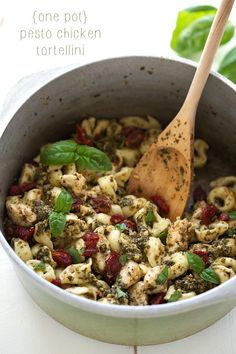 An easy one pot pesto chicken tortellini