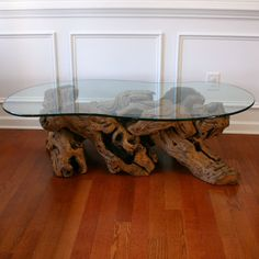 Driftwood Coffee Table with Glass Top. Cocktail. Beach. Zen. Natural. Bohemian Home Nautical Decor. Woodland. Atlanta Living Room Reclaimed.