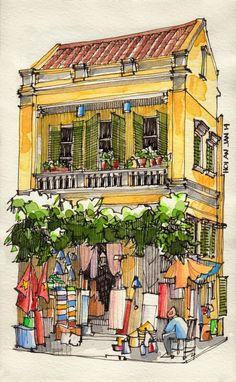 Jorge Royan,Vietnam from urban sketchers Urban Sketchers, Pen And Watercolor, Watercolor Paintings, Watercolor Trees, Watercolor Portraits, Watercolor Landscape, Abstract Paintings, Watercolor Artists, Watercolours