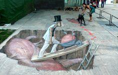 3D Mural painted by Eduardo Relero called, ìBuscador de cordialidadî in Gandia, Spain: Eduardo Relero's Incredible 3D Art