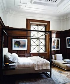 Home Design and Decor , Decorating Masculine House : Masculine House Bedroom With Wooden Tall Wainscoting