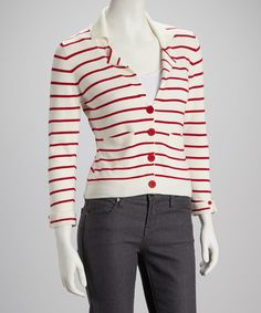 Take a look at this Ivory & Red Notched Lapel Collar Stripe Cardigan by Bloom on #zulily today!