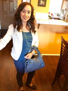 Girls' Night Outfit ... H&M Blazer, Esprit Top, Skinny Jeans, Gap flats, and Balenciaga Town Gris Tarmac purse
