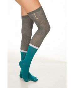 Gray Meets Teal Over The Knee Socks