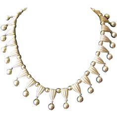 Vintage 1950's Crown Trifari Dangle Collar Choker Necklace in Goldtone at WhimsicalVintage