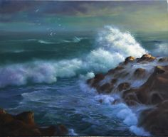 'Crashing Wave' Karen Malmgren Artist Oil on canvas