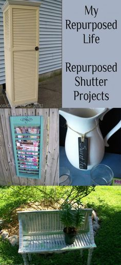 There is a great bench made out of bifold doors on this blog!  My Repurposed Life -- Take 2 Tuesday {repurposed shutters}