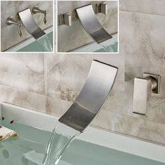 Nickel Brushed Basin Sink Faucet Wall Mounted Waterfall Spout Bathroom Mixer Tap #showerdream