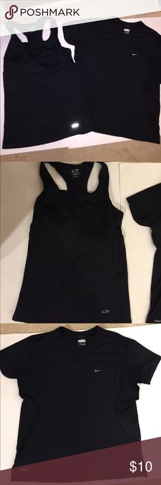 Workout Top Bundle!- Nike & Champion 2 for the price of 1 this bundle consists of two Black workout tops each size small. The first is a Champion fitted tank with built in bra, spandex material. The second is a NikeFit short sleeve v-neck too that is synthetic workout material. Nike Tops