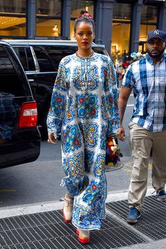Rihanna's Style Guide For Beating The Heat #refinery29 http://www.refinery29.com/2016/06/112419/rihanna-style-guide-summer-in-the-city#slide-4 Break up the black-and-gray expanse of New York's asphalt and subway grating with a Dolce & Gabbana tile-printed maxi. (Which can be yours for a mere $1,797.) ...