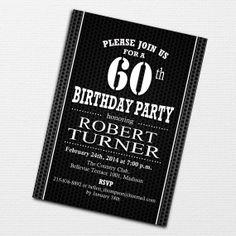 60th Birthday Invitation for Men / DIY Printable Invitation / Personalized Party Invite