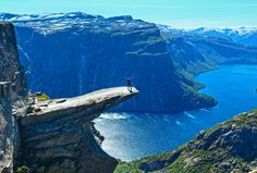 Trolltunga, Norway. Norwegians do love their trolls. Trolltunga translates as troll's tongue and perfectly describes the piece of jutting rock.