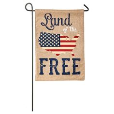 Celebrate your American pride with this patriotic flag. Featuring a durable polyburlap material, this flag is the perfect way to welcome guests to your garden. This beautifully crafted garden flag features a sleeve at top that fits standard flagpoles or stands. (Stand and/or flagpole not included).