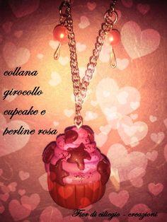collana girocollo con cupcake e perline rosa