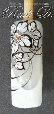 It`s all about nails: Step by step French and white flowers http://radi-d.blogspot.com/2013/06/step-by-step-french-and-white-flowers.html
