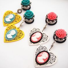 Garden Party Love Cameo Dangle Plugs by glamsquared