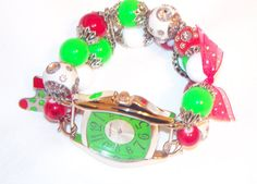 Christmas Green and Red Chunky Beaded Watch Band and by BeadsnTime, $30.00