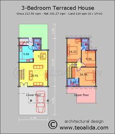 Rumah teres 3 bilik tidur 110 meter persegi
