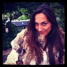 wearing short wild-cat fur gilet @Kathy Davis-Reid Venice, London