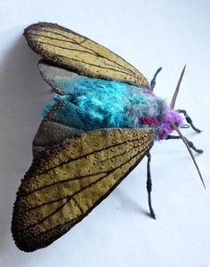 Fabric sculpture Large Brown Ctenucha Moth by irohandbags