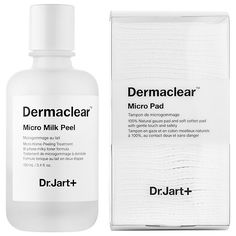 Dermaclear™ Micro Milk Peel - Dr. Jart+   I got a facial today and after seeing results, I had to buy it. I have combo/oily skin that can be a bit sensitive at times. I used to exfoliate, but noticed it'd make my face super red afterwards. This not only diminished the size of my pores, but has the same affect as a regular exfoliator without the little beads/grains. What's great about this is that there's instant results.