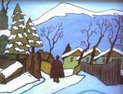 Gabriele Münter, Dorfstraße   im Winter, Hinterglasbild, Murnau