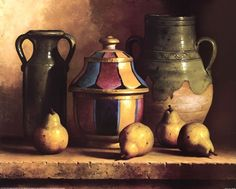 Moroccan Pottery with Pears by Loran Speck art print