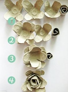 Egg carton rose tutorial - wreath or candle . Egg Carton Art, Egg Carton Crafts, Home Crafts, Diy And Crafts, Crafts For Kids, Cup Crafts, Plate Crafts, Paper Flowers Diy, Flower Crafts