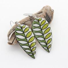 Wood Leaf Statement Earrings Long Lightweight Dangle