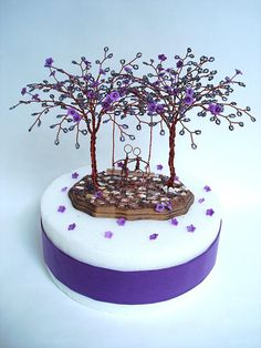 Double Purple Blossom Bead Tree Cake Topper Wedding