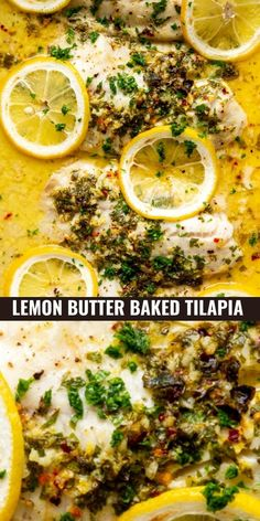 This lemon butter baked tilapia is a easy and healthy weeknight dinner recipe! Super fast prep and less than 15 minutes of cooking time means you can have dinner on the table in about 20 minutes. Make this healthy fish dinner tonight!