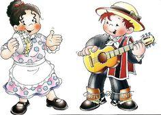 Dibujos Bailes Chile, cueca, jota, Sau Sau, etc Gaucho, Folklore, Disney Characters, Fictional Characters, Minnie Mouse, Printables, Anime, Mayo, Winter Decorations