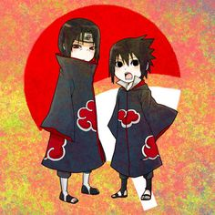 Kawaii Akatsuki Partners~ Itachi and Sasuke Uchiha Naruto Kakashi, Gaara, Anime Naruto, Sasuke Akatsuki, Sharingan Kakashi, Naruto Cute, Naruto Shippuden Anime, Manga Anime, Otaku