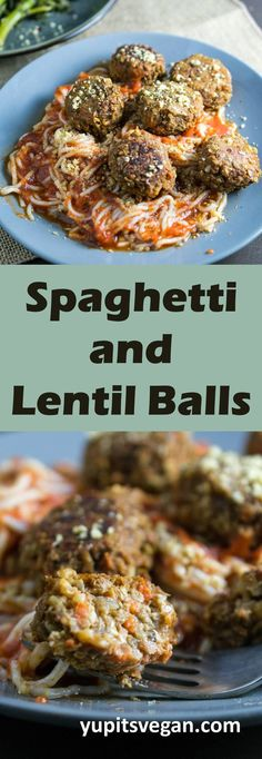 Spaghetti and Lentil Balls | Yup, it's Vegan. Hearty baked lentil balls with a generous portion of spaghetti and tomato sauce. #vegan #glutenfree #grainfree