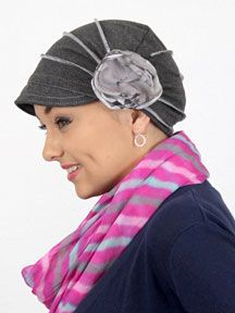 Stretchy and soft-billed fitted hat has full coverage for chemo patients.  Cotton- 01b405399a9
