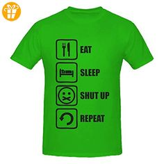 Eat Sleep Shut Up Repeat Funny Black Graphic Men's T-Shirt XX-Large (*Partner-Link)