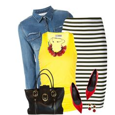 Bright Yellow Tank by daiscat on Polyvore featuring Gat Rimon, A.L.C., Lija, Giuseppe Zanotti, DKNY and Lee Angel Jewelry
