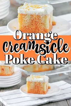 This amazing Orange Creamsicle Poke Cake is so easy to make but a real show stopper to serve! Poke Cake Recipes, Poke Cakes, Best Dessert Recipes, Cupcake Cakes, Yummy Recipes, Holiday Recipes, Holiday Ideas, Yummy Food, Creamsicle Cake