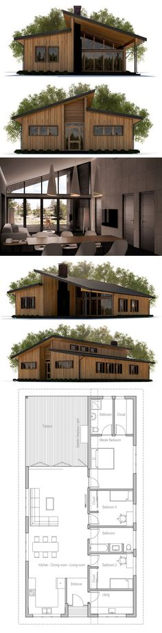 Narrow Home Plans, Home Plans, House Plans, Architecture, Floor plans … - Architektur Facade Design, Architecture Design, House Design, Architecture Background, Architecture People, Modern House Plans, Small House Plans, Bedroom Window Design, Prefab Cabins