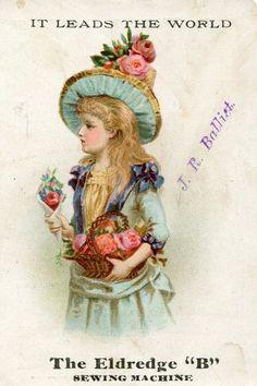 "C1890 Victorian Trade Card Eldredge ""B"" Sewing Machine Company Girl Roses"