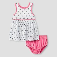 Baby Girls' 2 Piece Heart Print Dress Cat & Jack - Pink/White 6-9M, Size: 6-9 M