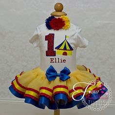 This cute girl circus birthday outfit is perfect for your little princess! This girls first birthday outfit with a circus tent theme can be