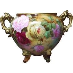 "Fabulous D & Co. France Limoges 1900's Hand Painted ""Red, Pink, & Yellow Roses"" 11"" Handled & Footed Jardiniere"