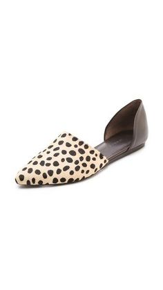 Jenni Kayne Cheetah Printed Pony Hair and Leather Pointed Toe Flat