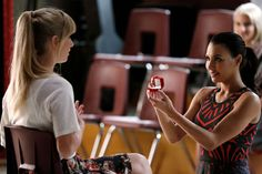 "Brittana proposal in ""Jagged Little Tapestry"" Heather Elizabeth Morris, Heather Morris, Brittany And Santana, Brittany Snow, Glee Season 6, Wedding Movies, Glee Club, Naya Rivera, Dianna Agron"