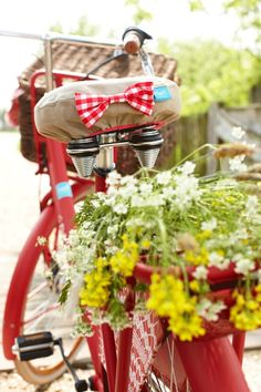 So charming, red bi Beautiful gorgeous pretty flowers Dutch Bicycle, Bicycle Decor, Yellow Cottage, Old Bikes, Garden Pictures, Vintage Bicycles, Beautiful Flowers, Beautiful Gorgeous, Floral