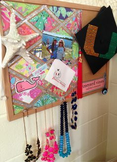 cut up pages from an old Lilly agenda and use them on a cork board. love it!