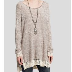 NWT FREE PEOPLE Hand Knit Crochet Sweater New with tags. Still in manufacturer packaging. Light brown/Ivory. Awesome crochet hem!  Size Large. No trades Free People Sweaters Crew & Scoop Necks